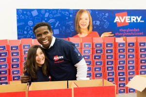 That time Pinball and I packed kits of school supplies. #AveryGivesBack